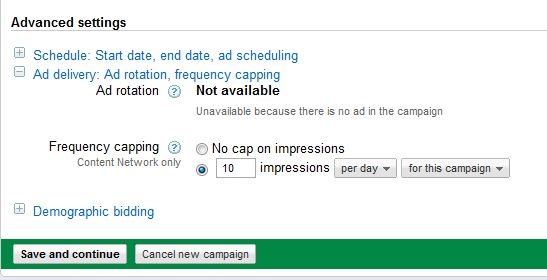 Adsense Content Network Frequency Capping