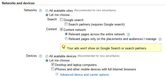 Adwords Remarketing Setup - Networks and Devices