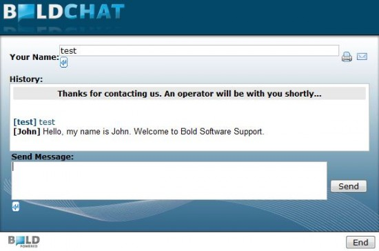 Boldchat Chat Window - Livechat Example
