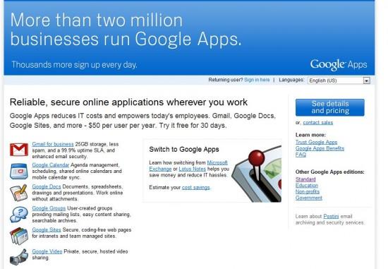 Google Apps Premier Signup Page