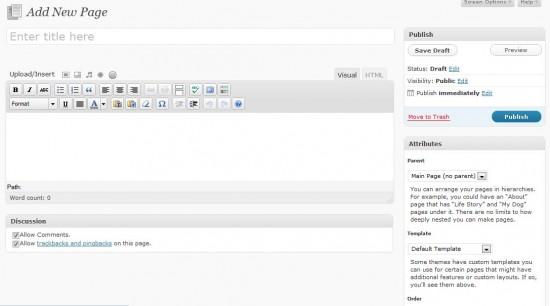 Wordpress Page Edit Screen