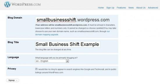 Wordpress.com Blog Signup