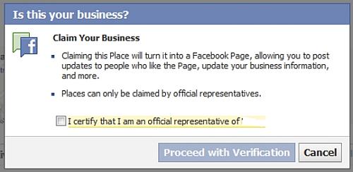 Facebook Places Claim