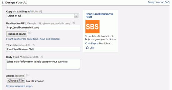 Facebook Ads Design Your Ad