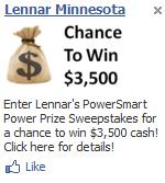 Lennar Minnesota Facebook Ad - Sweepstakes
