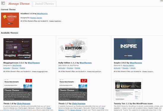 Wordpress Theme Select Screen