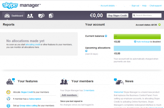 Skype Manager Dashboard