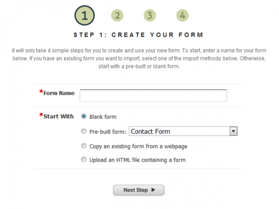 Create Your Form - Step 1