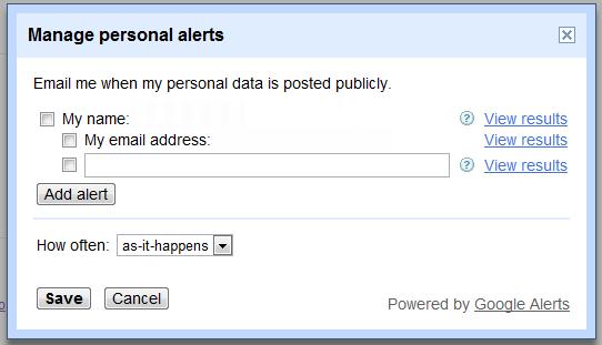 Manage Personal Alerts Google Dialogue