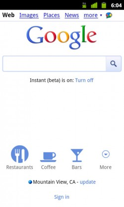 Google's New Mobile Home Page