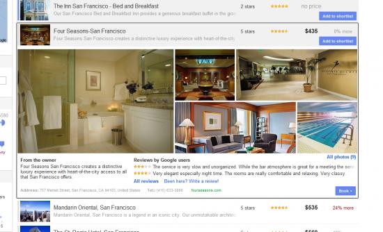 Google Hotel Finder Hotel Details