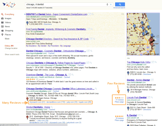 New Google Places Search Results