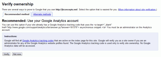 Verify Google Webmaster Tools With Google Analytics